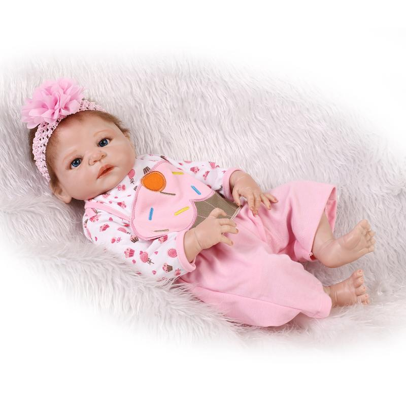 55cm Full body silicone reborn baby doll toys play house newborn bebe babies kids brithday girls brinquedos bathe shower toy