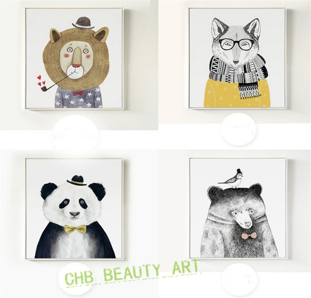 triptych watercolor animal painting lion bear panda art prints wall pictures for living room kids room