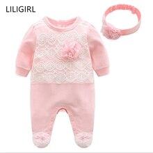 LILIGIRL/Новинка г.; комбинезоны с цветочным рисунком для маленьких девочек+ повязка на голову; комплекты одежды для новорожденных; хлопковая одежда принцессы