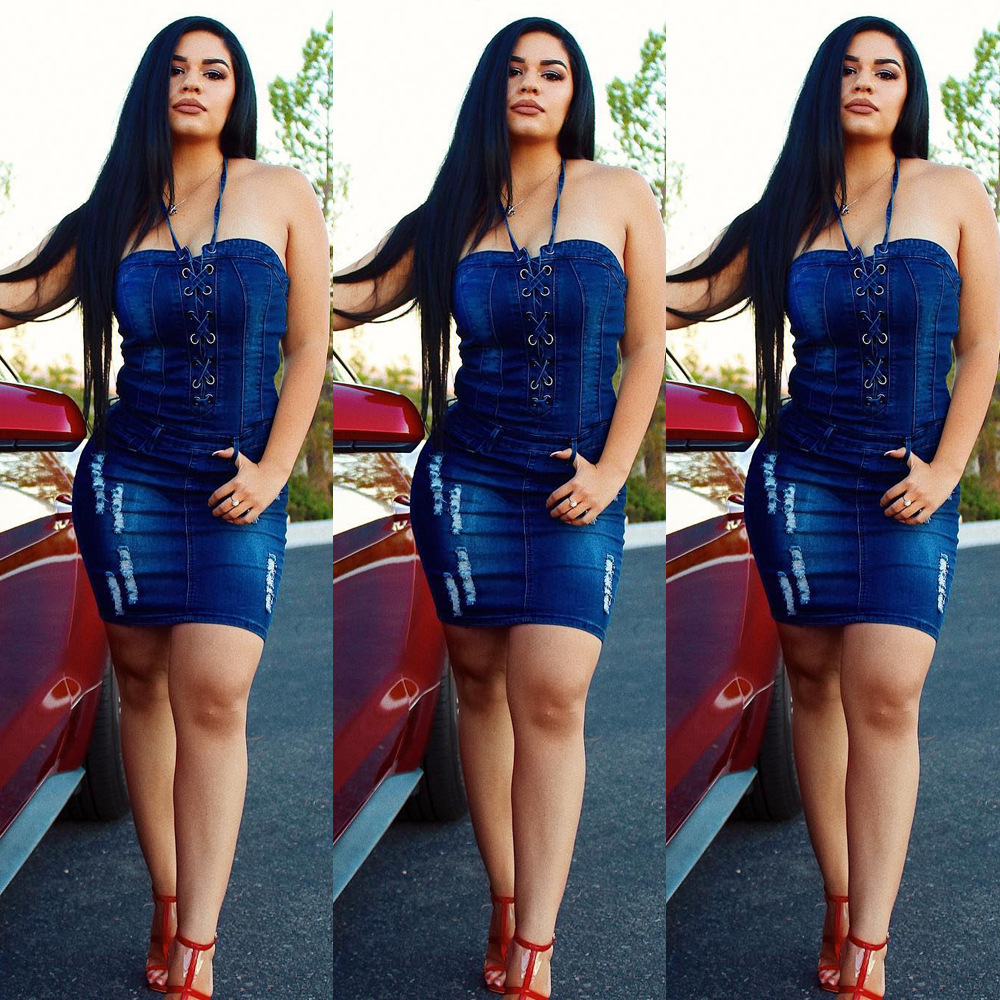 2018 Delgado arnés vaquero bolso cadera vestido Sexy mujer azul Delgado Jeans vestidos de una sola pieza vaquero vintage