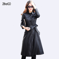 Autumn And Winter Women S Leather Jacket 2017 Latest Coat Long Section Of Long Sleeved Fashion