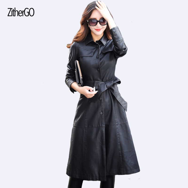 Autumn and winter women's   leather   jacket 2017 latest coat long section of long-sleeved fashion outfit l with a single buckle