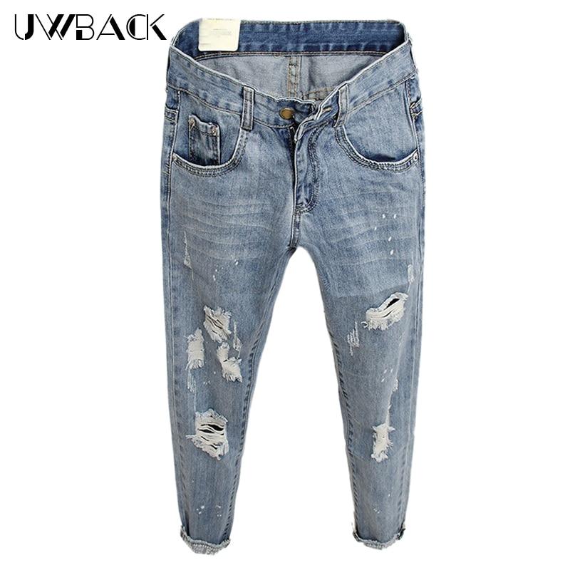 Uwback Boyfriend Jeans Woman 2017 New Brand Summer Women Ripped Jeans Washed Letter Holes Women Denim Harem Pants TB1386