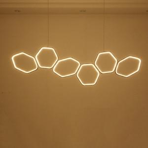 Image 2 - NEO זוהר מינימליזם מודרני LED נברשת עבור אוכל מטבח חדר סלון לבן או קפה צבע תליית נברשת גופי