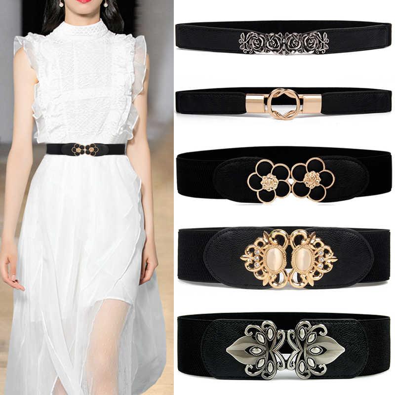 bc70401242ef1 Fashion Elastic cummerbunds black solid Stretch waistband for women dress  accessories Adornment waist belt Wide Belts