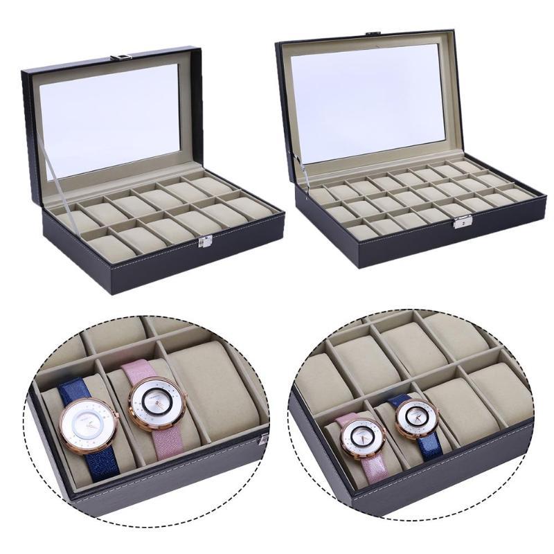 12/24 сетки искусственная кожа часы Дисплей коробка высокого класса часы поле окна дерев ...