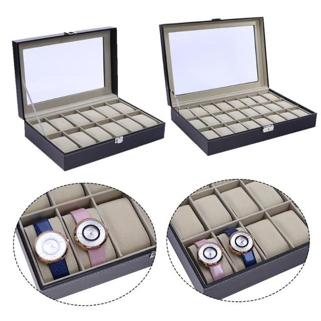 12/24 Grids PU Leather Watch Display Box High-end Watch Box window wooden watch box word lock 12 grid Jewelry Female Clock Case