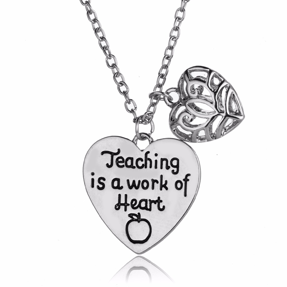 12PC/Lot Hollow Heart Teaching Is A Work Of Apple Pendant Necklace Love Charm Jewelry Teachers Day Thanksgiving Xmas Choker Hot