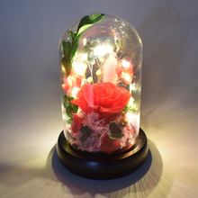 3 colors Arched Led Light Inside Preserved Fresh Rose Flower In Glass Dome For Girlfriend Valentines Day Mother day Gift