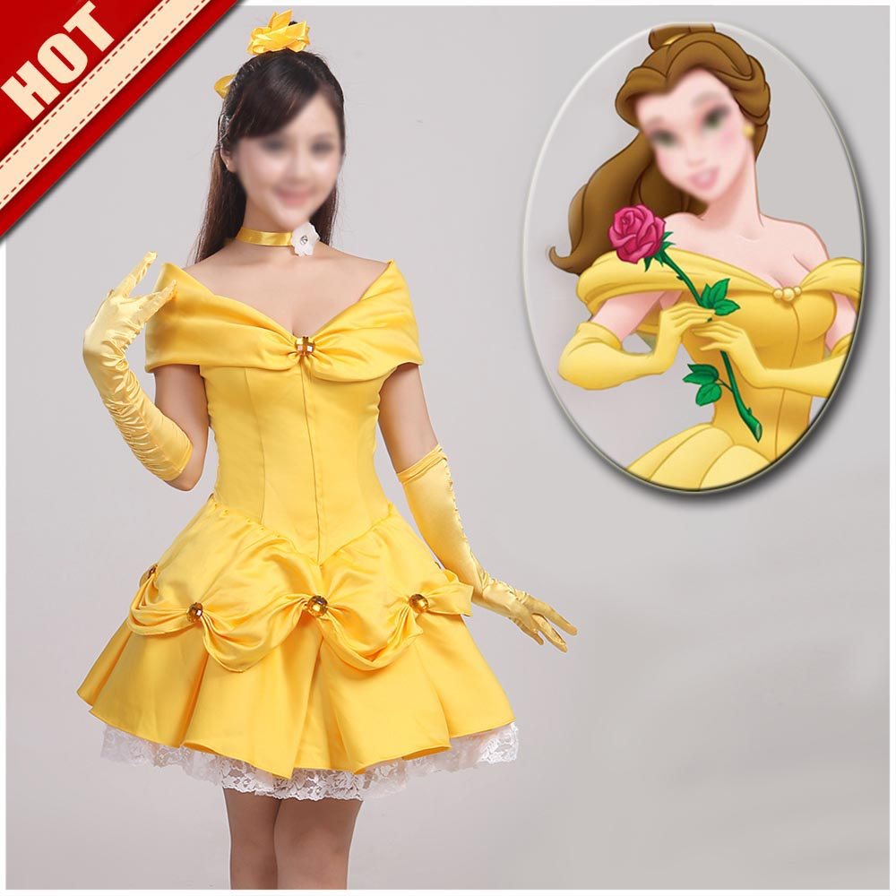 Movie Beauty and the Beast cosplay costume adult princess Belle short yellow dress Custom made j2000 nvr16 v 4