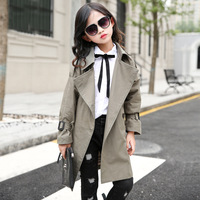 Trench Coats For Girls Teenage Long Windbreaker Children Clothing 2018 Fall Solid New Fashion Kids Clothes School Outfits 8 9 10