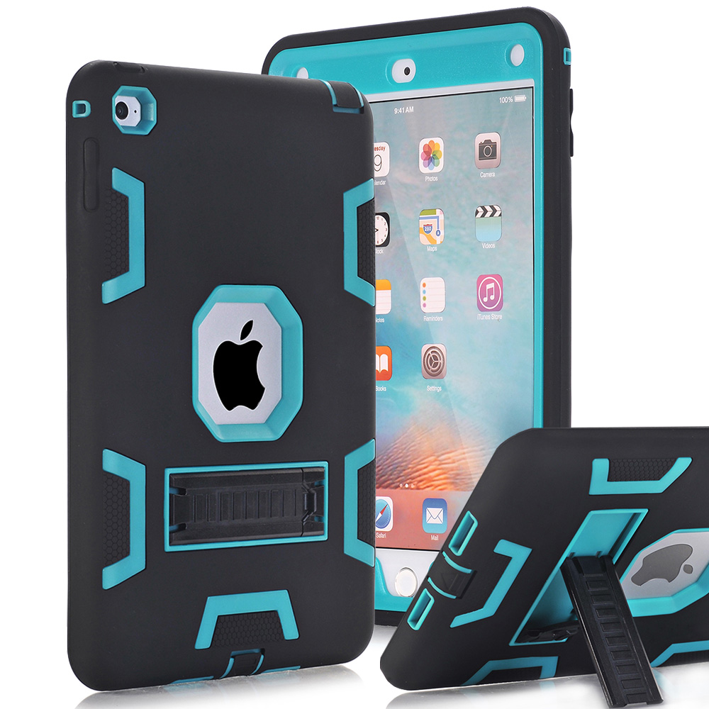 For Apple iPad Mini 4 Case Cover High Impact Resistant Hybrid Three Layer Heavy Duty Armor Defender Full Body Protector Case