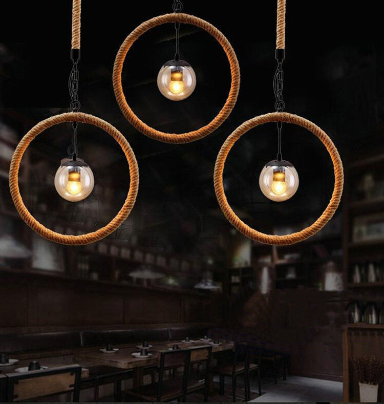 Vintage Circle Hemp Rope Iron Pendant Lights American Country Retro Cafe Restaurant Bar industrial pendant lamp with Led 6w bulb american countrial chandeliers cafe pendant lamp round retro restaurant bar metal lamps wrought iron hemp rope pendant lamp