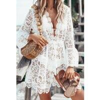 Горячее модное женское платье кружевное вязаное крючком с длинным рукавом Цветочный v образный вырез закрытый купальник прозрачный полый с