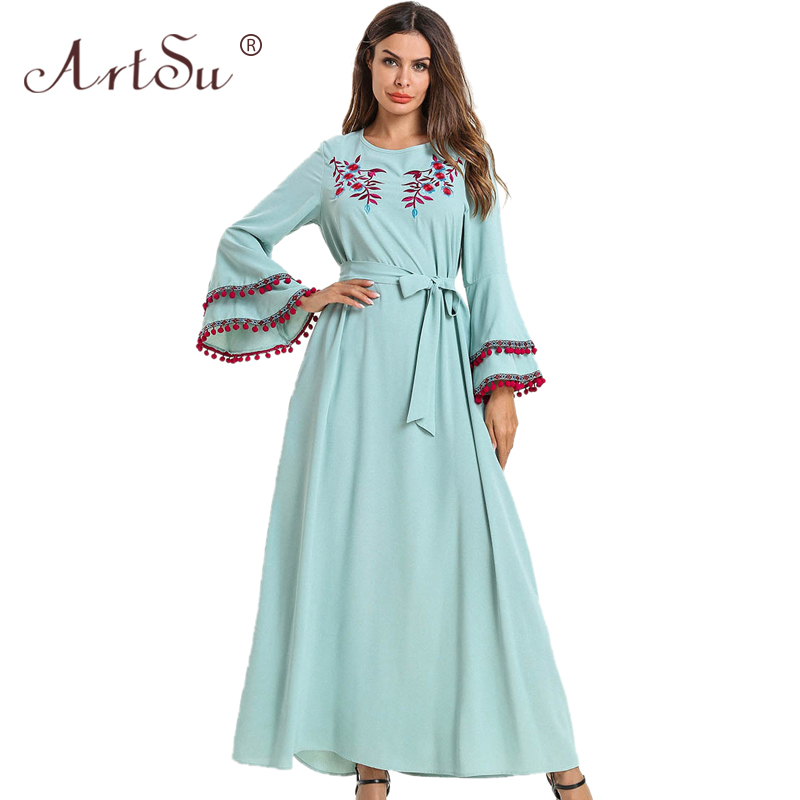 ArtSu Boho Style Women Pompoms Vintage Ethnic Maxi Dress Spring Flare Sleeve Green Floral Embroidery Dresses Vacation Robe Femme