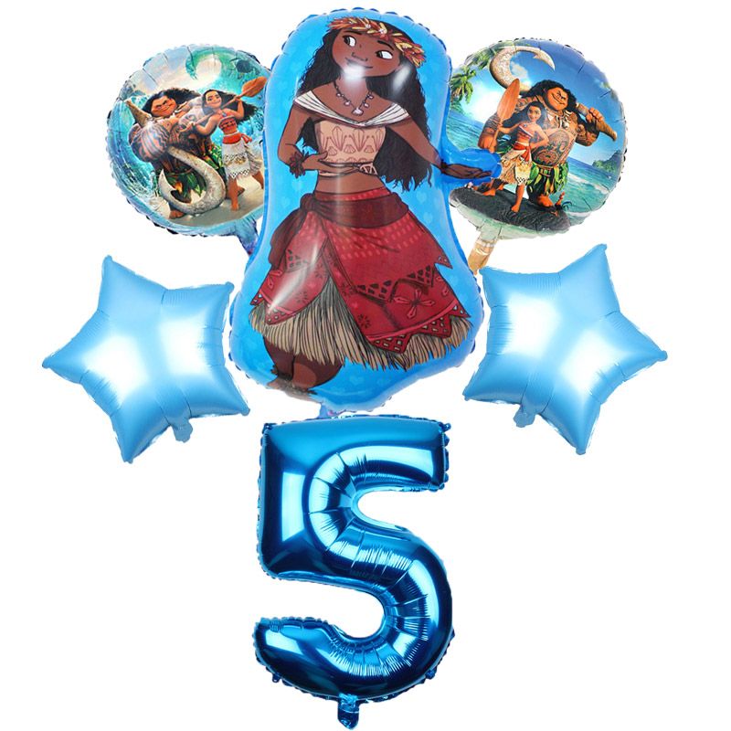 5 pcs/lot Moana balloons 32 inch Number moana party supplies moana theme birthday party decoration kids toys globo girls gifts-in Ballons & Accessories from Home & Garden