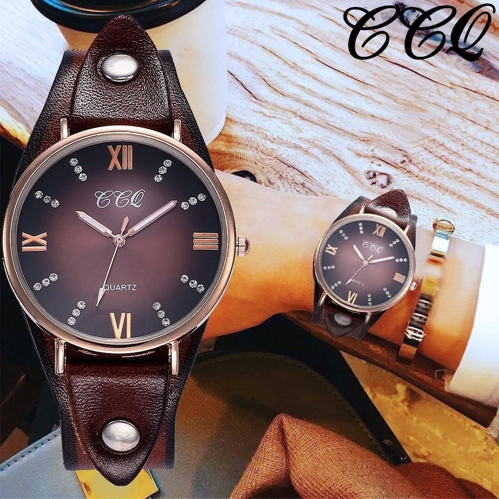 CCQ Brand Women Vintage Genuine Leather Roma Dial Wrist Watches Casual Fashion Women's Rhinestone Quartz Watch Relogio Feminino