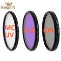 Knightx 52 55 58 67 77mm fld uv cpl mcuv mc filtro para sony pentax nikon canon d5200 d5300 d3300 d5500 100d eos 400d 550d 500D