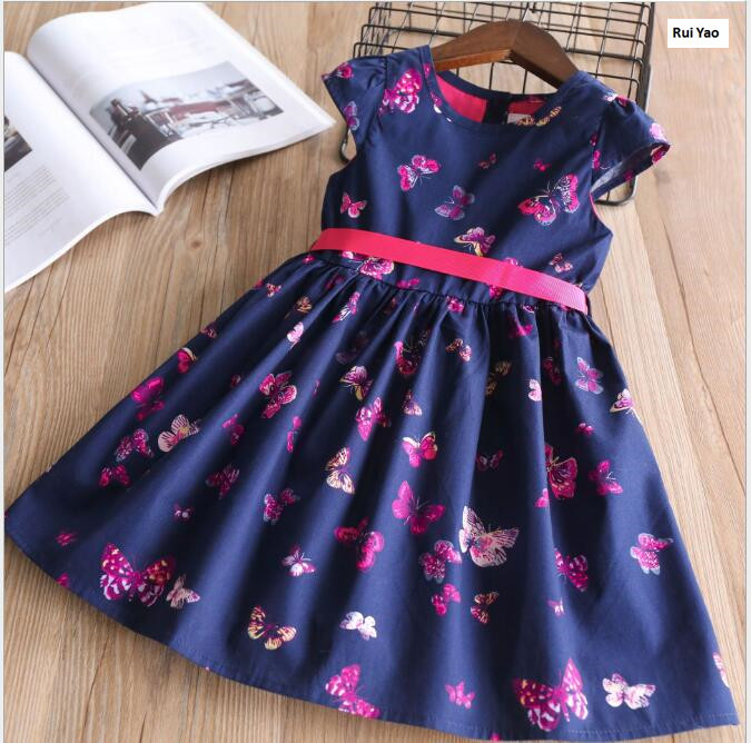 Y32055638 2018 Baby Girl Dress For Girls Dress Summer Toddler Butterlfy Fashion Girls Princess Dress Girl Clothes Children Kids bibicola cartoon children jeans dress baby girls cotton leisure overalls dress fashion toddler girl denim dress for summer