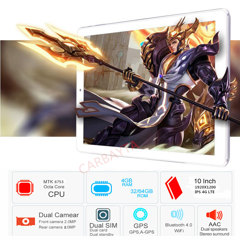 Original Android 8.0 10.1 inch 4G LTE Phone Call Google MT6753 Octa Core phone IPS Tablet WiFi 4GB +Rom 64GB 32GB tablet pc 8MP