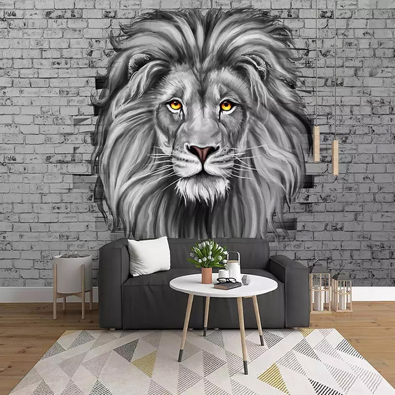 Custom Photo Wallpaper Modern Black And White Lion Mural Living Room Kids Bedroom Background Wall Painting Creative Art Frescoes