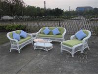 6 Pcs Good Quality Round PE Rattan Furniture Aluminum Frame Set Leisure Sofa For Outdoor White