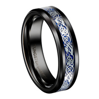 6mm Black Tungsten Rings for Men Silver Color Celtic Dragon Blue Background Wedding Rings Sets Fashion Jewelry