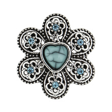 2019 In the spring  Turquoise summer Flowers Hat 18mm Snap Button Bracelet for Women Wholsale K025