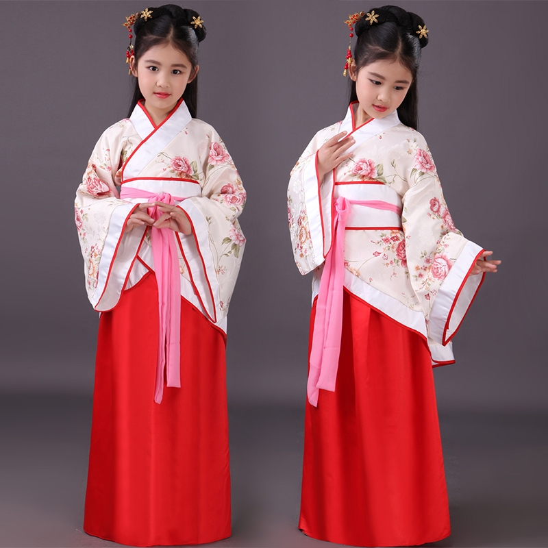 Chinese Hanfu Girls Dresses Chinese Kids Costume Children Ancient Fairy Han Tang Dynasty Qing Hanfu Dress Folk Clothing DN2570