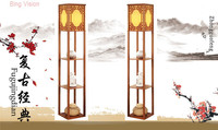 New Chinese Style Floor Lamp Lamparas De Pie Vertical Wooden Floor Light For Living Room Standing Lamp Indoor Lighting Fixture
