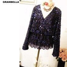 Новая летняя блузка с длинным рукавом V образным вырезом черная блестящая блузка для женщин, все-matached bling топы с бисером Клубная одежда