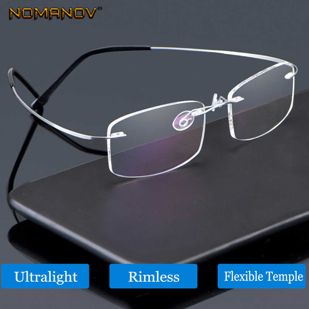 NOMANOV New B Titanium ONLY 2G Ultra-light elasticRimless READING GLASSES BLACK N SILVER FRAME +0.75 +1 +1.25 +1.5 +1.75 to +4