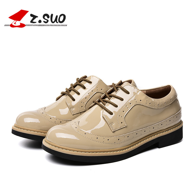 ФОТО Z.Suo Women Pumps 2017 New Womens Oxford Shoes Black Wine Red Apricot 100% Genuine Patent Leather Shoes Women ZS18008N