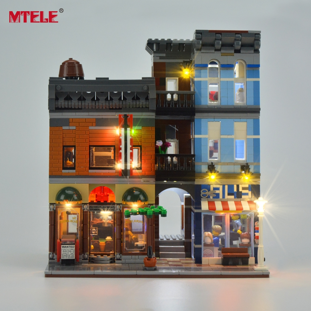 MTELE Brand LED Light Up Kit for Creator City Street Detective Office Lighting Set kompatibel med 10246 og 15011