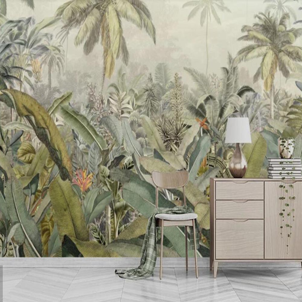 Tropical Plant Leaves Gold Wallpaper Mural 3D Printed Photo Wall Paper Rolls Wall Decor Painting For Bedroom Contact Paper