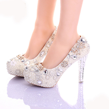 Handmade Pearls Prom Party Shoes Luxury Ivory Stiletto Heels Women Leather Platform Bridal Shoes Beautiful Crystal Dress Shoes