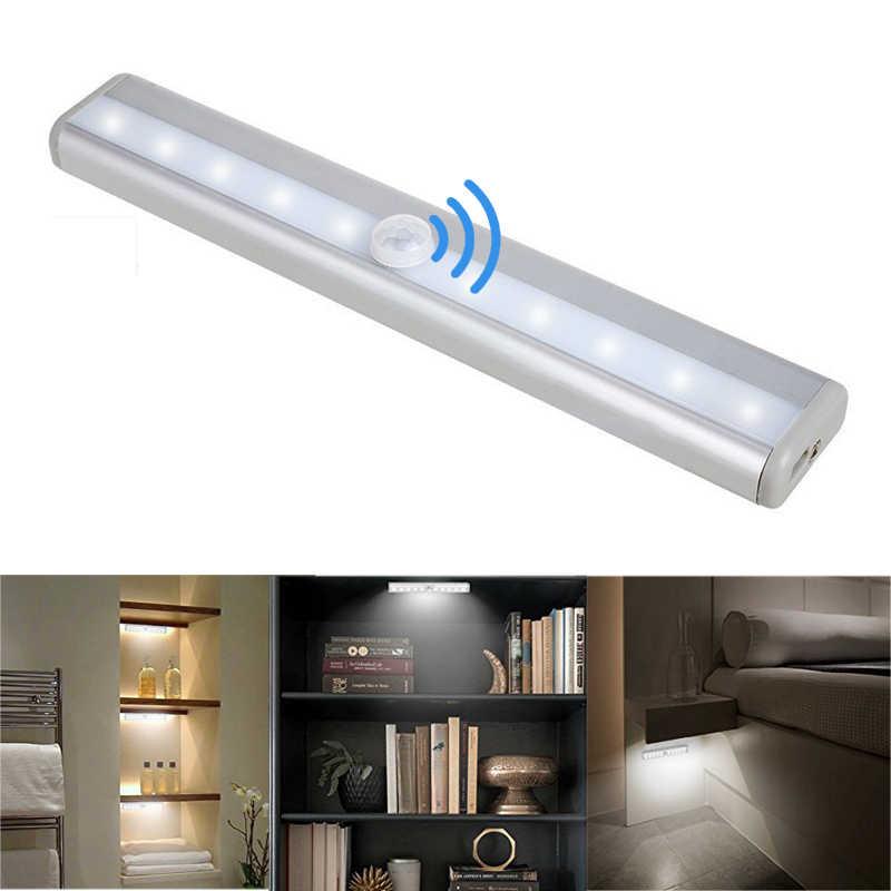 PIR MOTION SENSOR LED Di Bawah Kabinet Light Auto On/Off 6/10 LED untuk Dapur Kamar Tidur Armario Lemari Lemari Malam cahaya