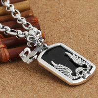 S925 silver jewelry wholesale fashion korea Obsidian Skull Pendant Necklace collocation gift for men