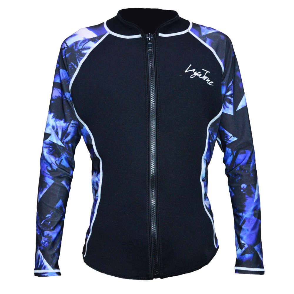 Wetsuit For Men 2mm SBR Neoprene Swimming Suit Diving Wetsuit Jacket Surfing Long Sleeve Print For Men Layatone slimming stand collar rib splicing letter and geometric print long sleeve jacket for men