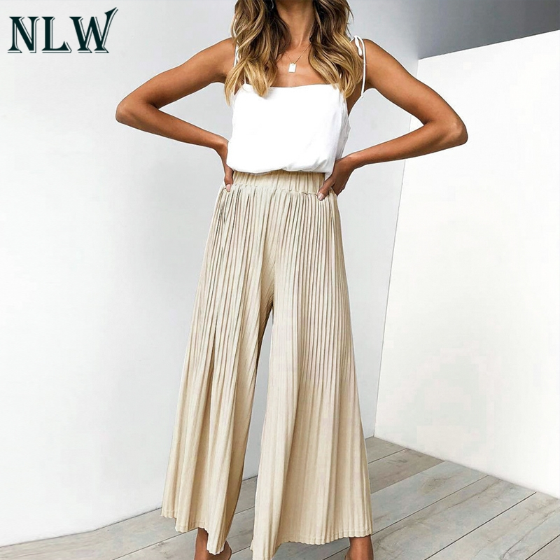 NLW Casual High Street Black Strip Drape Long   Pants   Women 2019 Summer Beach Holiday   Pants   Girl High Waist Wide Leg   Pants     Capris