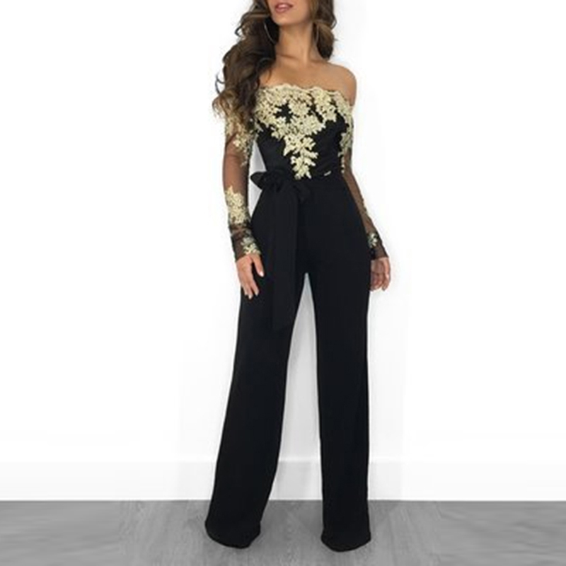 Ladies Summer Jumpsuit Off Shoulder Sexy Rompers Women Fashion Office Work Wear Elegant Party Jumpsuit Overalls For Women