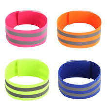 Green High Visibility Double Reflective Wristband Bracelet Band Running Night Cycling Jogging Safety Reflector Armband 1 Piece(China)
