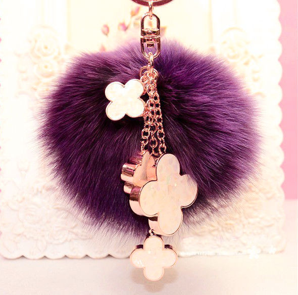10cm Fluffy Pom Pom Four Leaf Clover Real Fox Fur Pompom Keychain Fur Ball Key Chain For Women Bag Charm Accessories Pendant 10cm real fox fur ball keychain on the keys fluffy real fur pompom car for couples fur ball key chains fur cap beanie