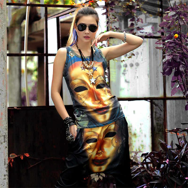 Просто. быть. никогда не в стиле хип-хоп женские костюмы комплект из 2 элементов жилет и Штаны мультфильм металла маска принт лето хиппи черный хлопок плотный верхний 90-х