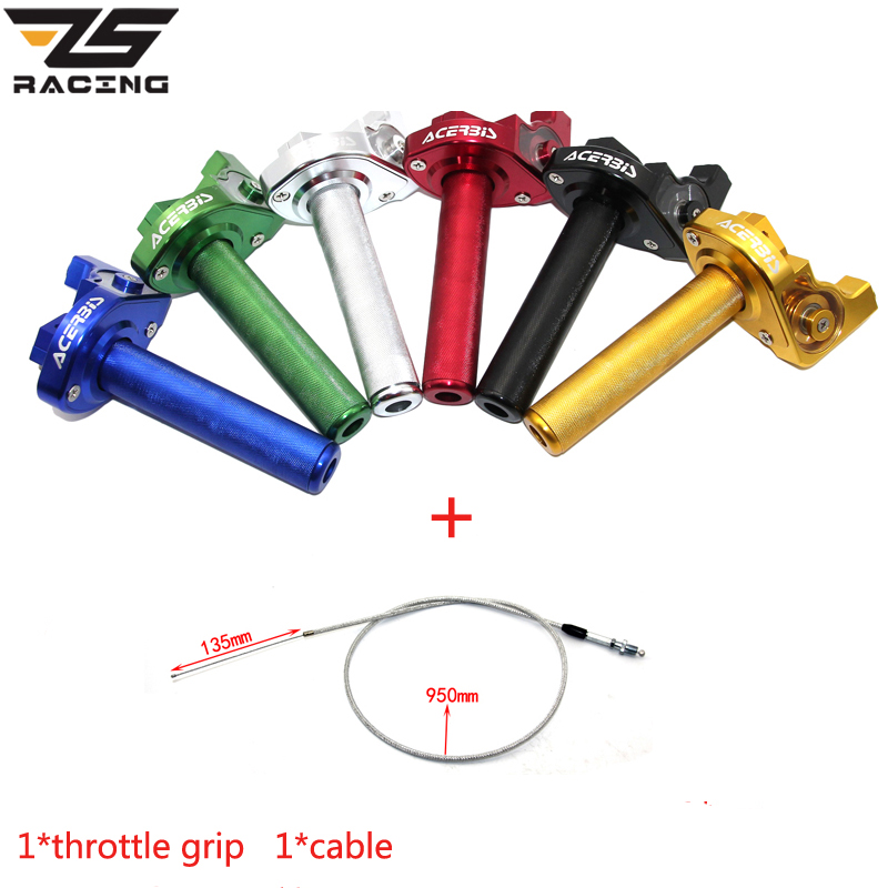 ZS Racing M10 CNC Aluminum Throttle Grip Twist Quick Action Gas Throttle With Cable Fit KAYO Apollo Bosuer Xmotos Dirt Pit Bike