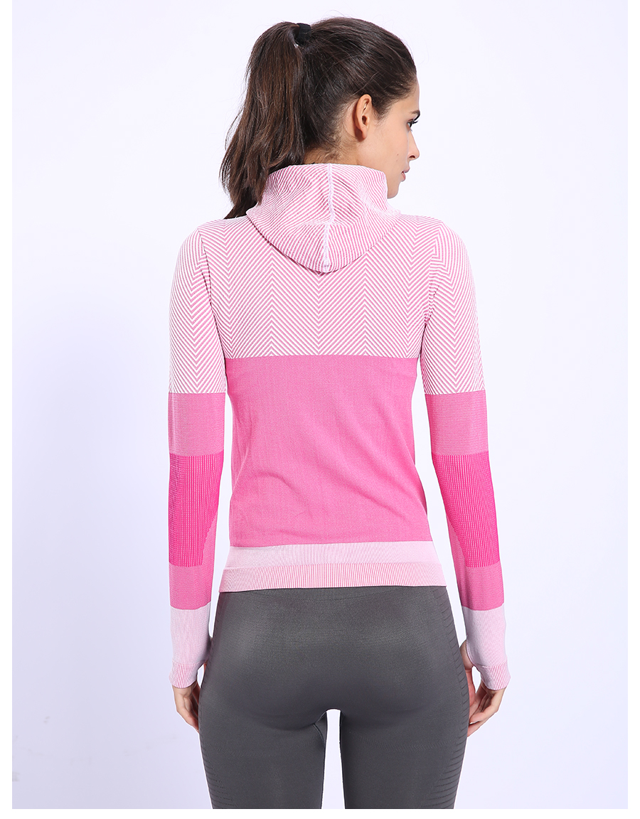 Elastic Hooded Sports Top for Women Womens Clothing Jackets & Hoodies