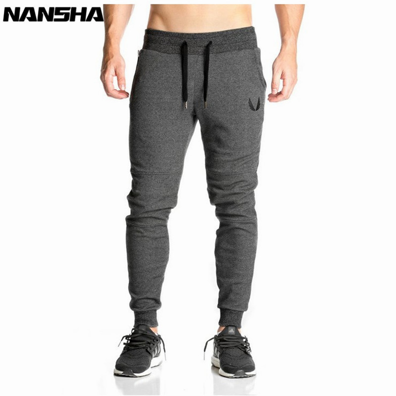NANSHA Men Full Sportswear Pants Casual Elastic Cotton Mens Fitness Workout Pants Skinny Sweatpants Trousers Jogger Pants