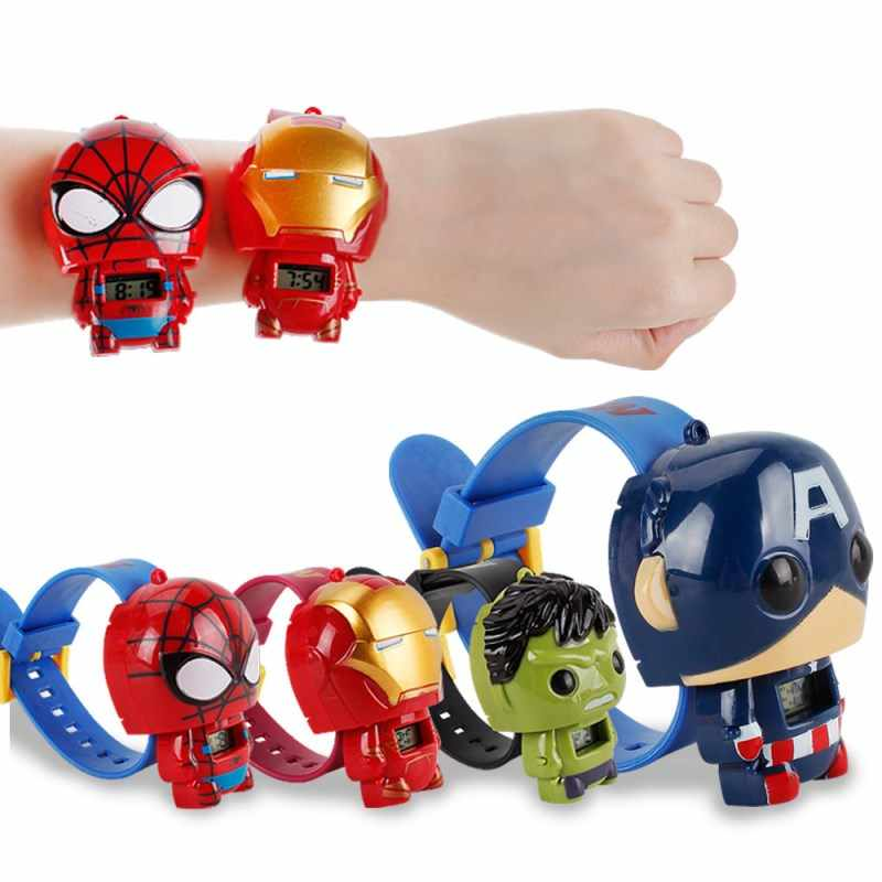 The Avengers Marvel Super Heroes Figures Children's Electronic Watch Captain America Iron Man Hulk Spiderman Action Figures Toys