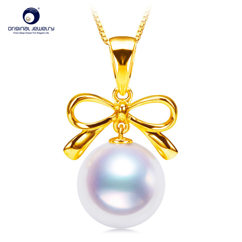 [YS] Bowknot Design Pendant 8-8.5mm Japanese Akoya Seawater Pearl Pendant Necklace