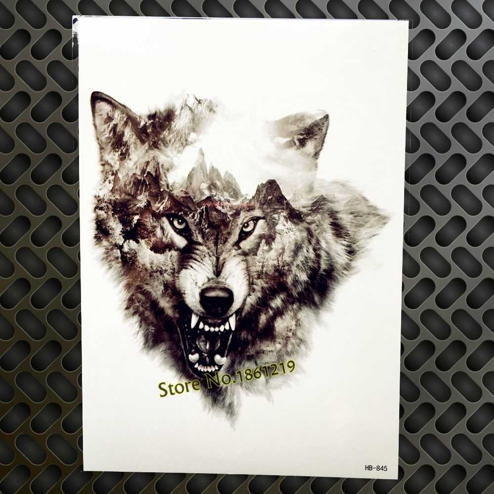 Cool Large 3d Temporary Wolf Tattoos Stickers For Men Gaq H850 Sketch Horrible Design Body Art Wolves Waterproof Tattoos Makeup